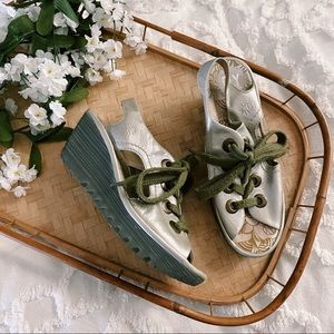 Fly London Yedu Lace Up Wedge Sandals sz 37